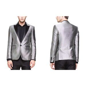 DSQUARED2 New 44 US 34 Micro-Dot Evening Jacket In Black & Silver